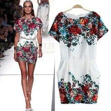 spring and summer new European style woman fashion catwalk models Street  beat big pocket printed short-sleeved dress 6b799d17f471