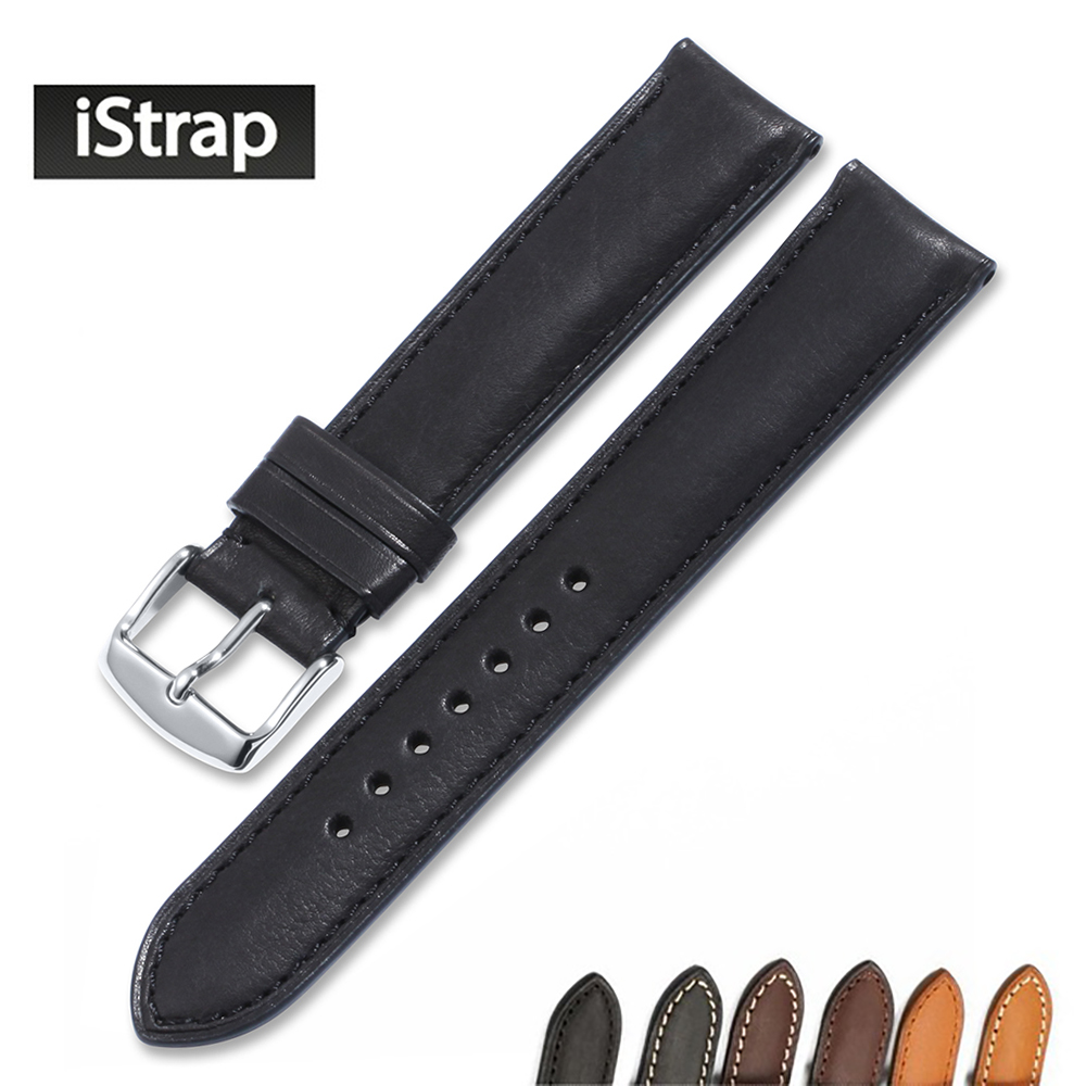 iStrap 18mm 19mm 20mm 21mm 22mm Black Brown Coffee Watchband Genuine leather Watch band Watch strap for Tissot Seiko Omega IWC chimaera black brown deep brown handmade crocodile alligator grain 20mm 21mm 22mm genuine calf leather watch band strap for iwc