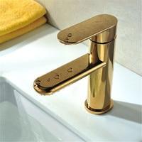 New 360 Swivel Spout Basin Faucet Golden Bathroom Brass Washbasin Sink Mixer Tap Hot Cold