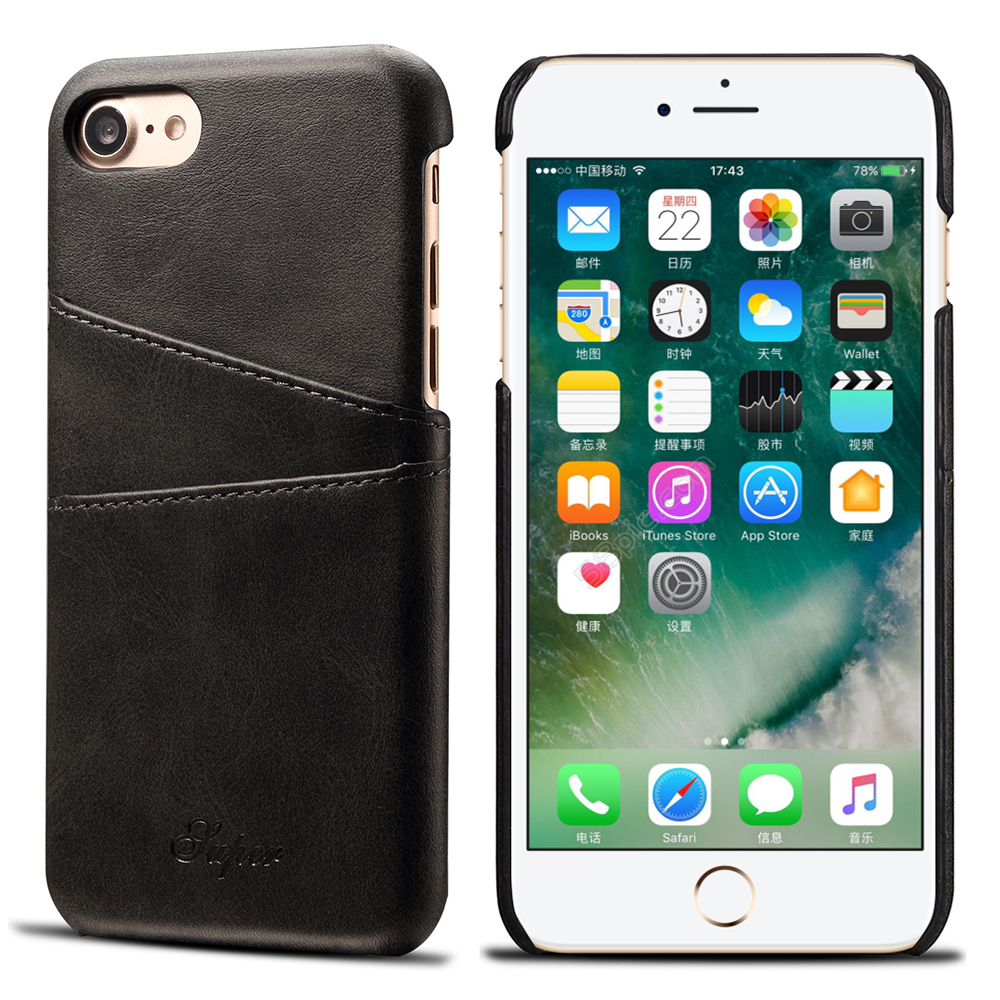 KIP7P1158_2_Slim Leather Back Cover For iPhone 7 8 Cow Case Ultra Thin Wallet Card Holder Back Covers For iPhone 7 Plus 8 Plus