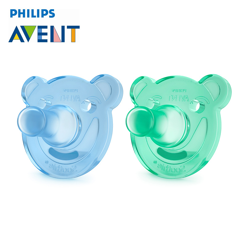 2Pcs Blue Philips Avent Bear Shape Pacifier Orthodontic Soother Avent Soothie Nipple BPA-Free Dummy-0-3M Care For 0-3 Months