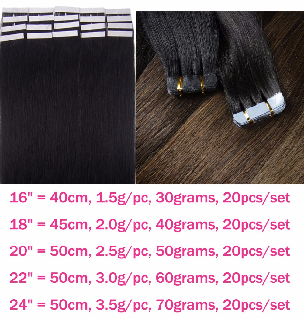 """ZZHAIR 14"""" 16"""" 18"""" 20"""" 22"""" 24"""" Tape Hair 100% Brazilian Remy Human Hair Extensions 20pcs/pack Tape In Hair Skin Weft 30g-70g"""