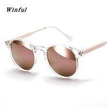 Winful Nova moda Rodada óculos de sol óculos de Design Da Marca Mulher  Transparente Quadro homem óculos de sol rosa de ouro lent. f1d718197b