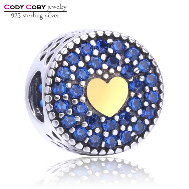 Cody Coby 925 Sterling Silver Precious Heart Blue CZ Beads Fit Pandora Charm Bracelets Original Jewelry Gift For Women & Lover