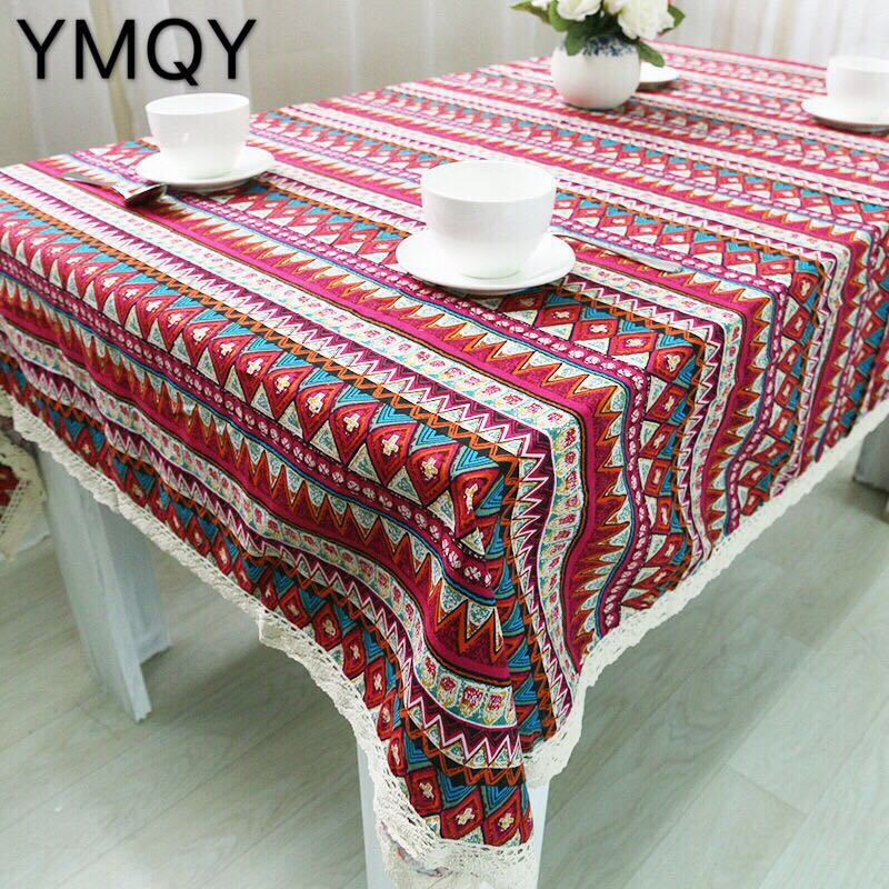 Captivating High Quality Multi Purpose Linen Red Triangle With Lace Tablecloths And Table  Cloth Tablecloth Table