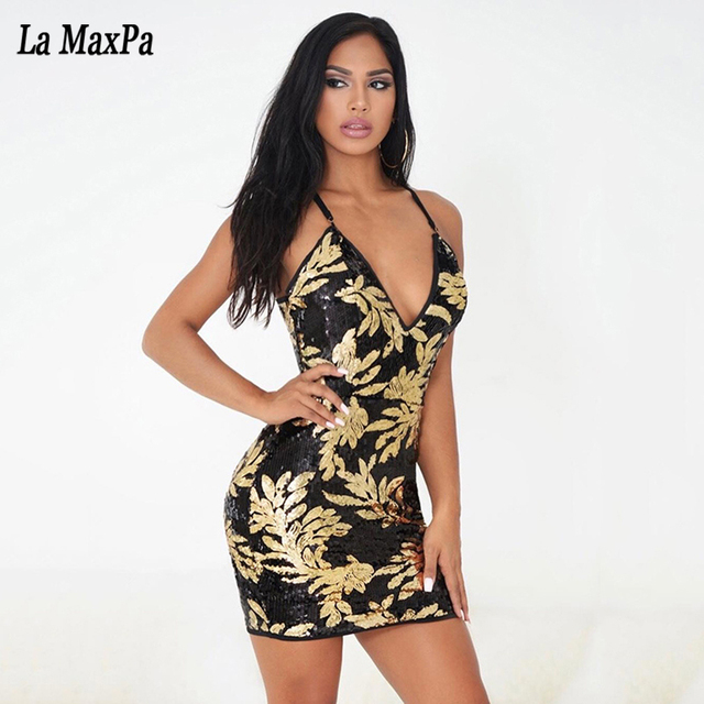2017 summer women sexy Celebrity party Sequins carving bandage dress Runway black  sleeveless Bodycon Dress V 82bc9f91e464