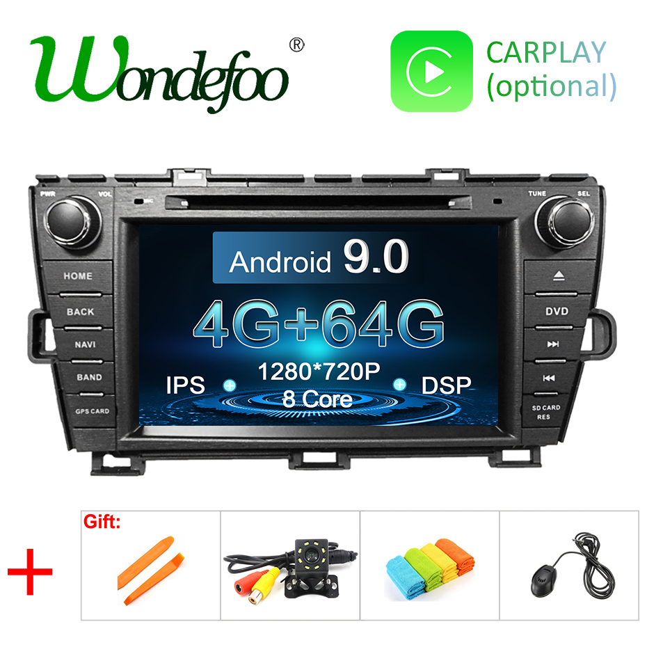 DSP 4G 64G Android 9 0 IPS screen CAR radio GPS For Toyota Prius 2009 2013