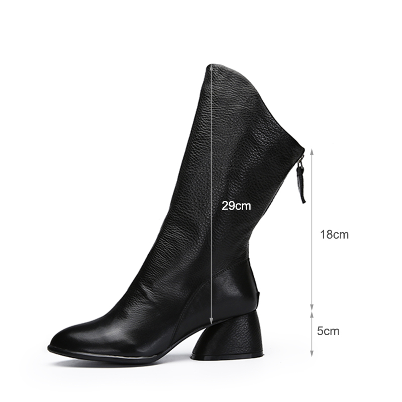 Vallu Boots Shoes Woman 2018 New Arrival Female Mid-Calf Booties Natural Leather Handmade Soft  European Style Fashion Lady Shoe