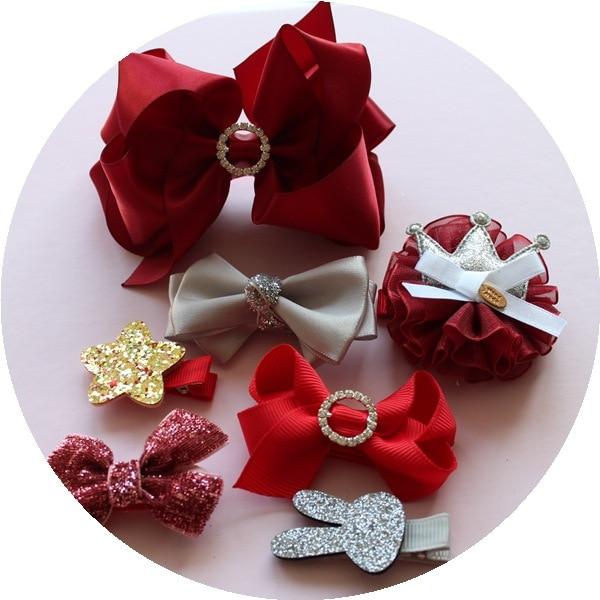 1 dəst yay qız uşaqları cute bowknot saç klipləri pin barrette - Geyim aksesuarları - Fotoqrafiya 3
