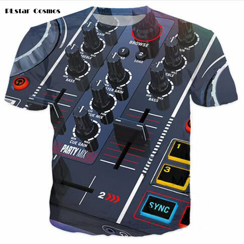 PLstar Cosmos Creative Hip-Hop DJ Audio Music  T-Shirt Nightclub Trendy Neutral Top Street Casual 3D Printed Short Sleeve 5XL