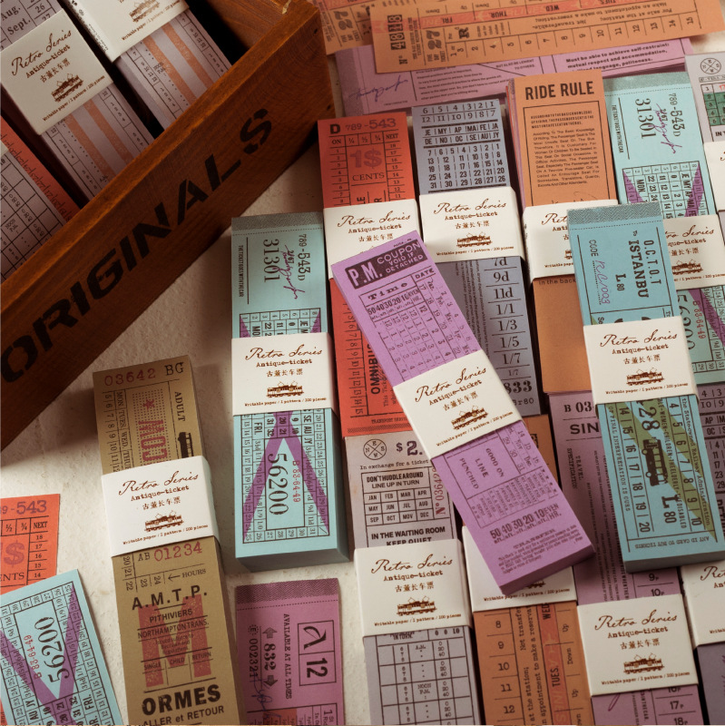 100pcs/lot Vintage Antique Tickets Paper Memo Pad Retro Sticky Notes Memo Notepad School Office Supply Papelaria Gift Stationery