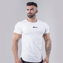 High-Quality New Brand Men Muscle T-shirt Bodybuilding Fitness Leisure Men Tops Singlets Fashion Short Sleeve White T-shirt 2019