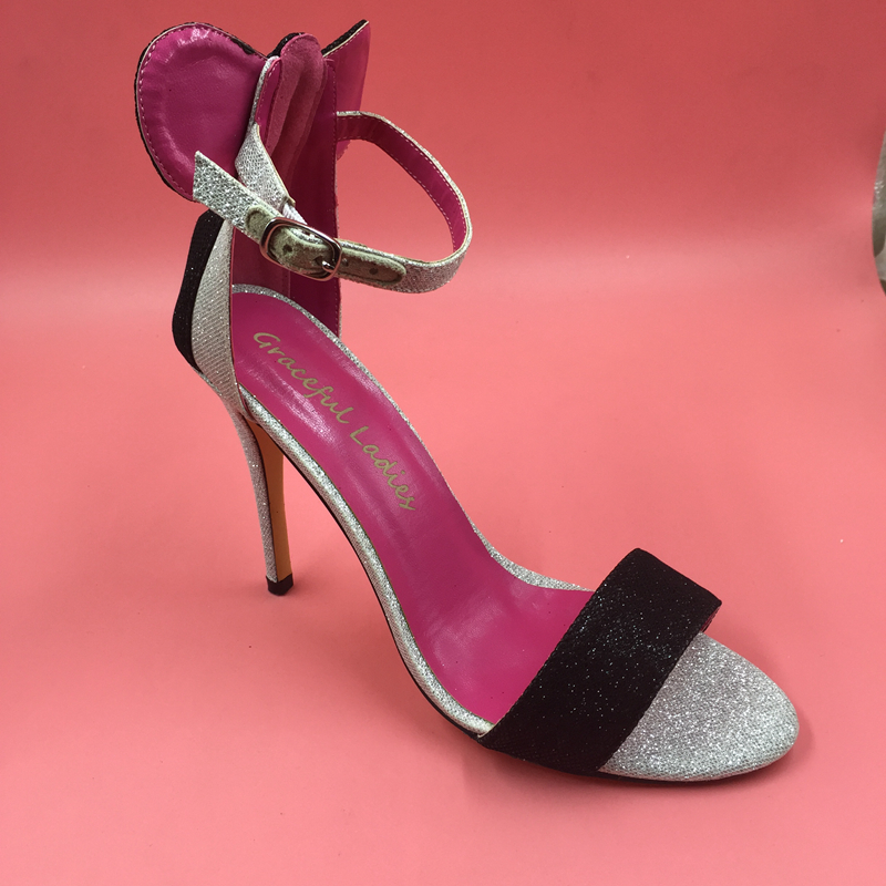 Silver Glitter High Heel Sandal Women 12cm Size Stilettos Shoes Party Sandal Ankle Straps Open Toe Real Photos Shoes Sandal все цены
