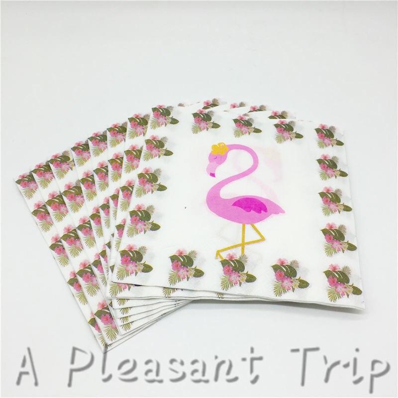 20 Stks/partij Nieuwe Flamingo Servetten Verjaardagsfeestje Levert Kinderen Douche Servetten Verjaardagsfeestje Levert Wegwerp Papieren Handdoeken