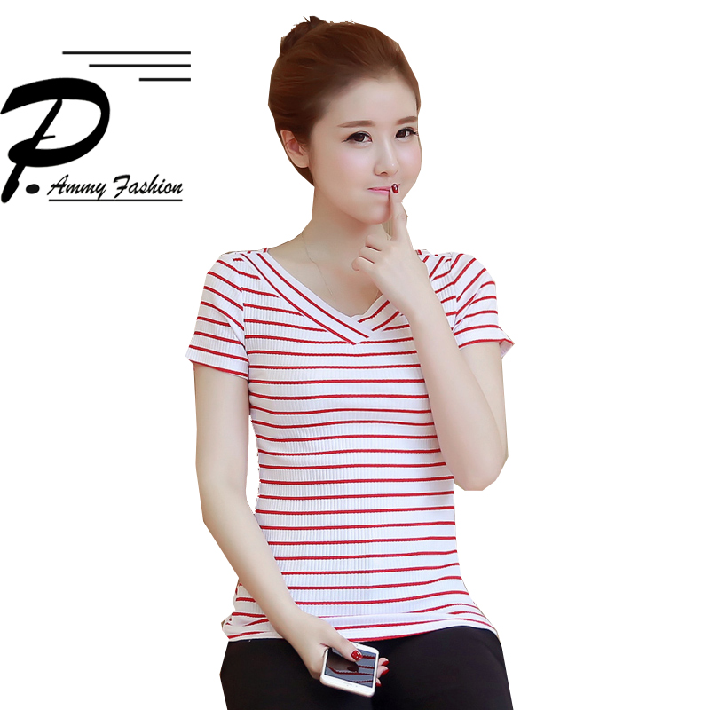 S~3XL Preppy Style Knitted Cotton V-Neck Short Sleeve Striped stretch T-shirt 2018 Summer Casual Elasticity Tee women Girl Tops