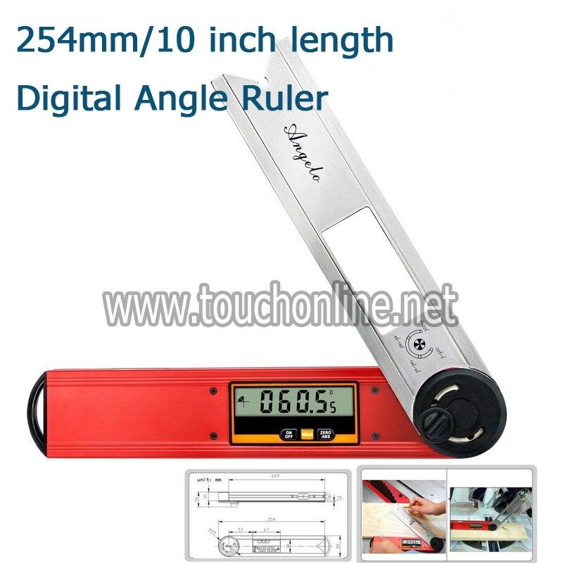 254mm/10 pouces longueur numérique Angle règle Finder mètre rapporteur 360 degrés 0.05 degrés TAF-254
