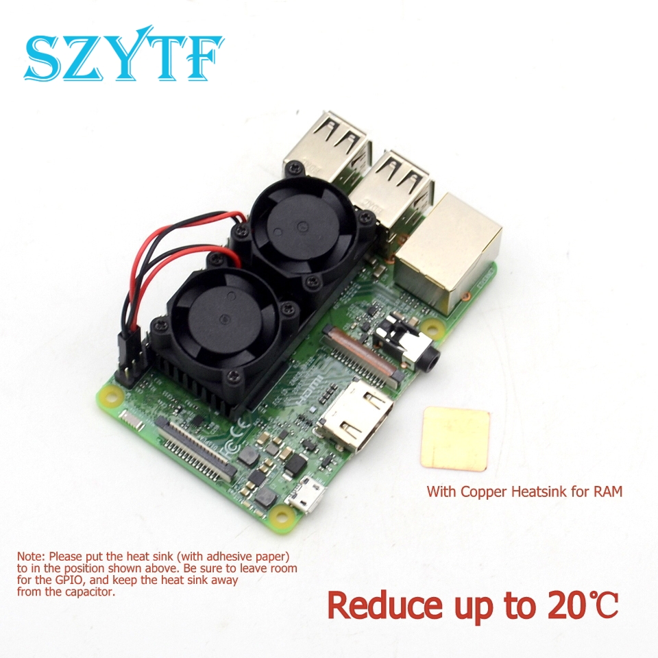 High quality dual fan cooling kit with copper For Raspberry Pi 3 2 Model BB+ NESPi Retroflag