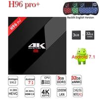 Oryginalny H96 PRO Plus + Android 7.1 TV Box 3G 32G ROM Amlogic S912 64bit WIFI Bluetooth 4.1 Gigabit LAN 4 K i 2 K Inteligentny Odtwarzacz Multimedialny