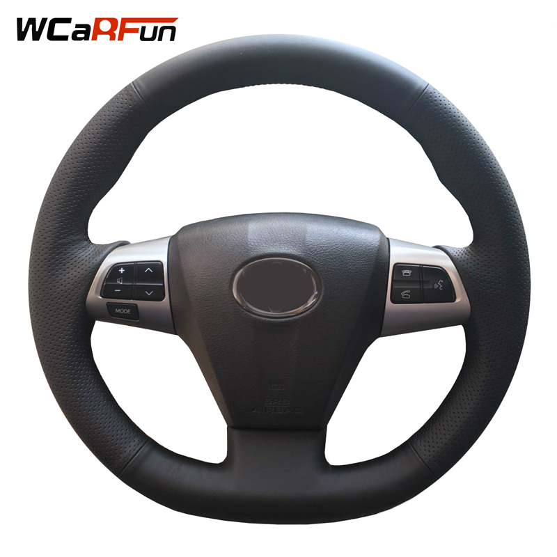 WCaRFun Black Artificial Leather Car Steering Wheel Cover for Toyota RAV4 2011 2012 Corolla 2011 2012 2013