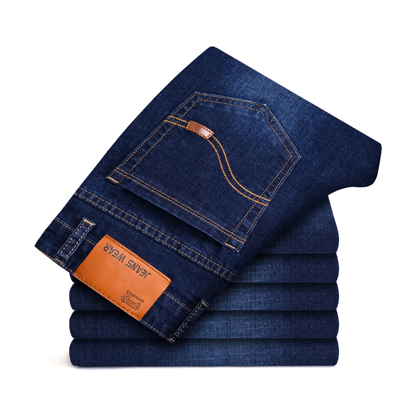 Straight Jeans High-Waist Pants Business Loose Male Casual Denim Long Solid Mid for Men