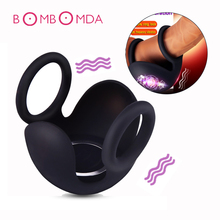 Men Testicle Bondage Vibrators Penis Sleeve Ring Stimulate Massager Dildo Double Ring Vibrators For Men Masturbator Sex Products