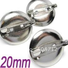 Free shiping!!!!!!! Silver plated metal basic round brooch pin pad 20mm