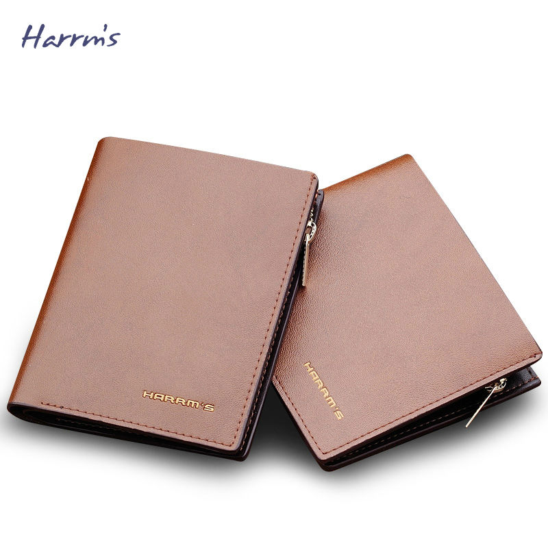 ФОТО Harrms Mens Wallet Leather Genuine Men Wallets Fashion Short Purse Brand Thin Wallet With Coin Pocket