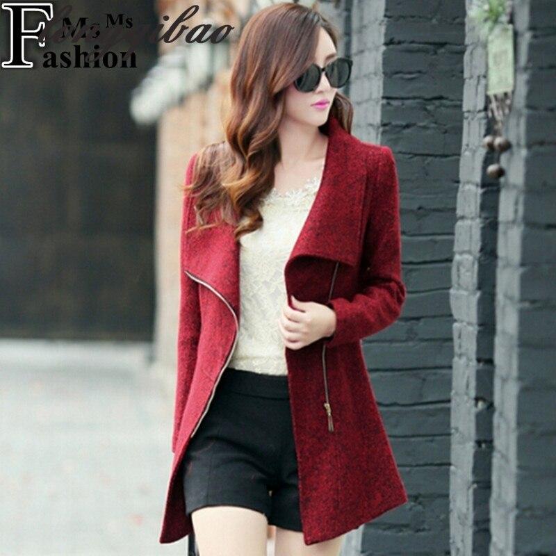 Autumn and winter women's temperament woolen coat coat female casual wear fashion women's slim coat jacket AL181017