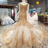 Golden Beads Lace Appliques Mermaid Wedding Dress V Neck Cap Sleeve Backless Back Trumpet Bride Wedding Dress vestido de noiva