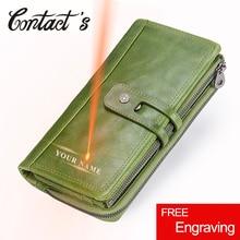 Kontakts Echtem Leder Frauen Brieftaschen Mode Damen Lange Kupplung Brieftasche Zipper Design Geldbörse Hohe Qualität Karte Halter Taschen