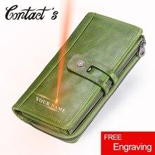 Portafogli da donna in vera pelle di contatto portafogli da donna con frizione lunga da donna con cerniera Design portamonete borse porta carte di alta qualità