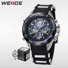 WEIDE Luxury Brand Analog Digital Display Quartz LCD Movement Waterproof Fashion Silicone Strap relogios masculino clock WH1103