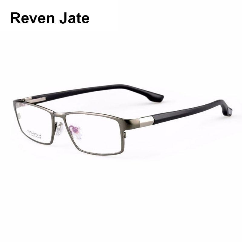 Reven Jate Cool Men Fashion Business Titanium Rim and Flexible TR 90 Temple Legs Optical Eyeglasses