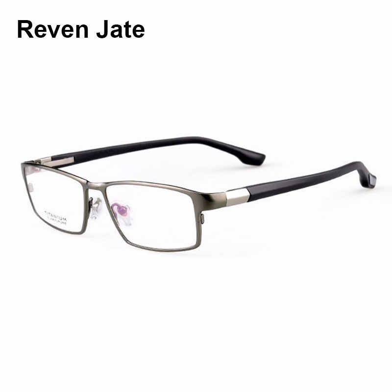 Reven Jate Cool Men Fashion Business Titanium Rim and Flexible TR-90 Temple Legs Optical Eyeglasses Frame for Successful Man