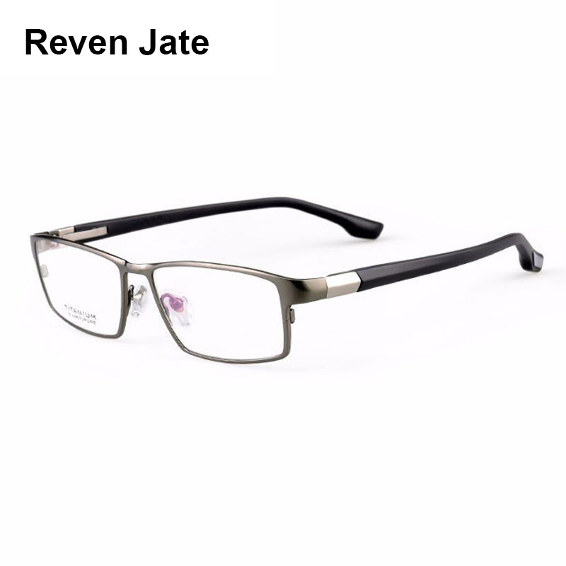 Reven Jate Cool Menn Fashion Business Titanium Rim og Fleksibel TR-90 Temple Legs Optisk Eyeglasses Frame for vellykket mann