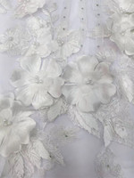 Latest french lace white 3D flower embroidered tulle lace fabric flower design high quality net lace