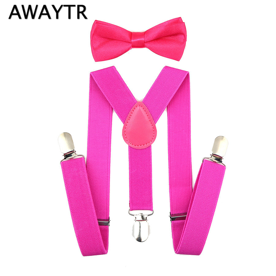 Girls Bow Ties And Suspender Set High Quality Dark Pink Suspenders Children 2017 3 Clips-on Jeans Shorts Baby Infant