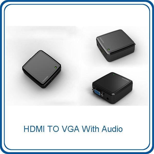 Free Shipping HDMI to VGA with Audio Mini Converter Box