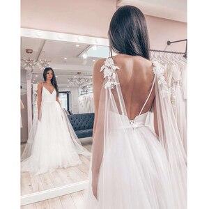 Image 2 - Hochzeit Kleid 2019 Sexy Spaghetti trägern Tüll Vestido De Novia Sleeveless V ausschnitt Backless Braut Kleider Robe De Mariage Nach