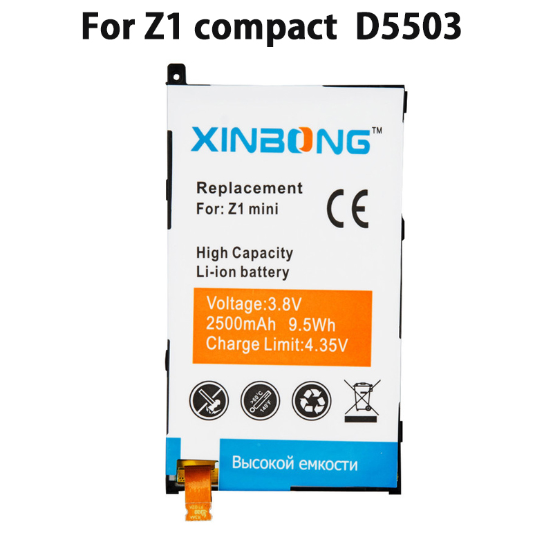 For sony Z1 mini D5503 Z1 compact M51w LIS1529ERPC 2500mAh battery 100% Replacement Battery