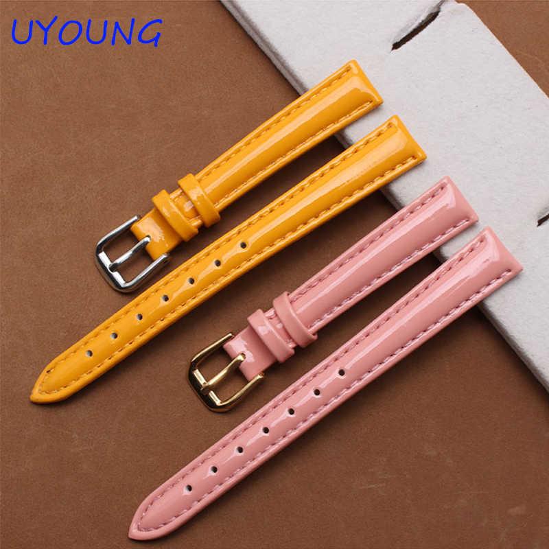 Kleine Size Lederen Horlogebanden 12mm 14mm 16mm Kleur Hoge licht horloge Armband Voor Vrouwen glanzend leer band