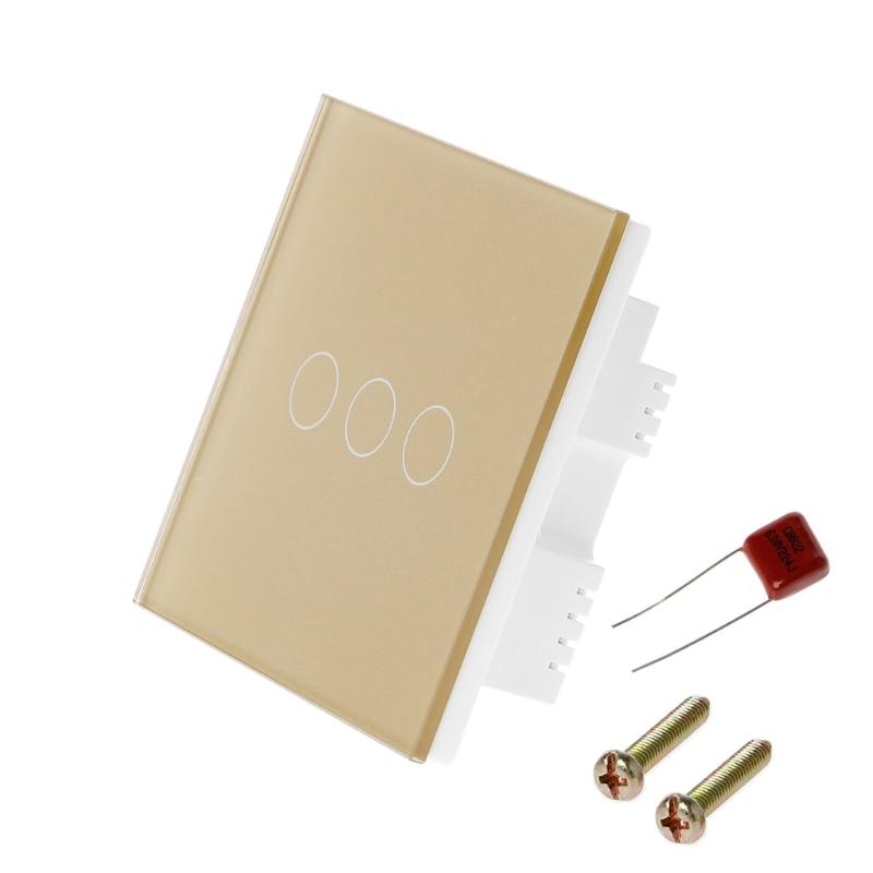 3 Gang UK Standard Smart Wall Light Touch Switch 170-240V Waterproof Glass Panel  t22 free shipping smart home us au standard wall light touch switch ac220v ac110v 1gang 1way white crystal glass panel