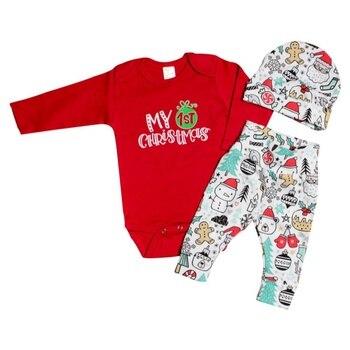 Conjunto de 3 piezas de Navidad recién nacido de manga larga con estampado de dibujos animados + Pantalones + sombrero 2018 nuevos conjuntos de bebé de otoño ropa de bebé 0-2Y H1