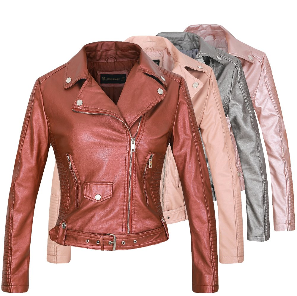 Women Sexy Fashion Autumn Winter Faux PU Leather Jackets Punk Rock Black Outerwear Slim Fit Motorcycle Jacket Pink Beige 6 Color