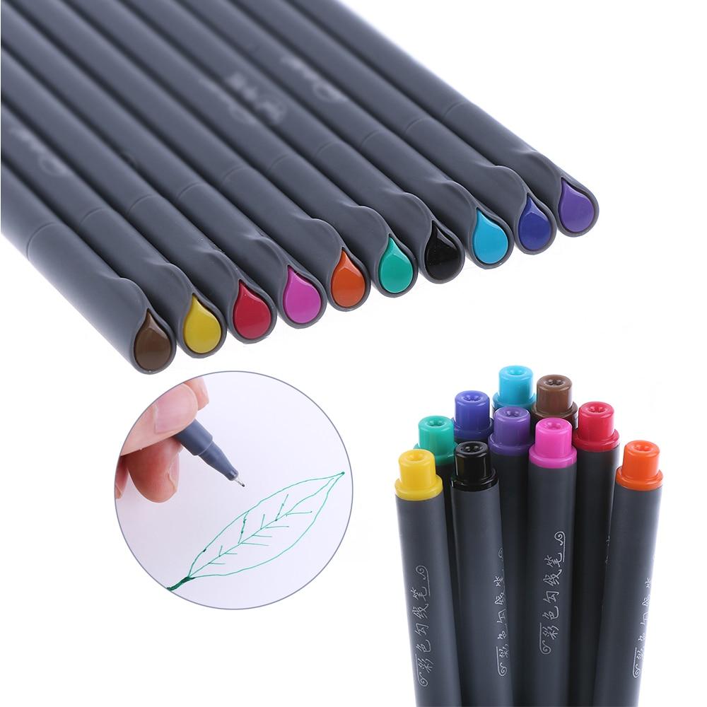0.38mm Set Watercolor Fine Line Pen Painting Tool Brush Art Supplies 10 Color
