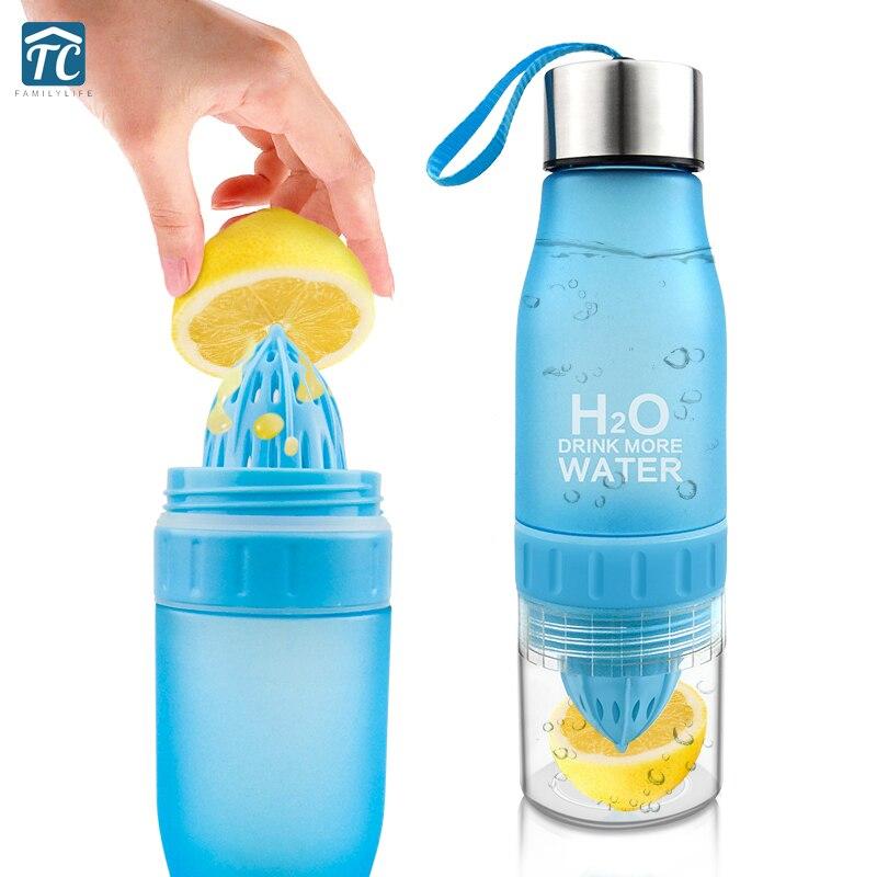 650 ml מים בקבוק פלסטיק פירות עירוי לשתות חיצוני ספורט מיץ נייד Drinkware טיולים קומקומים דליפת הוכחה קמפינג