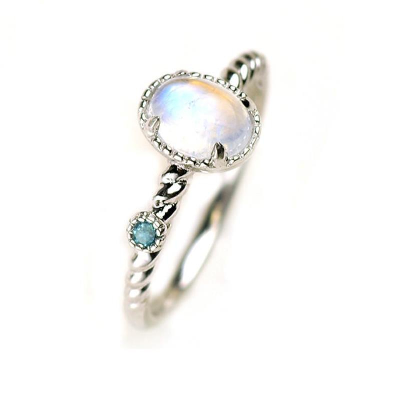 925 Sterling Silver Natural Rainbow Moonstone Engagement Ring Fine Jewelry