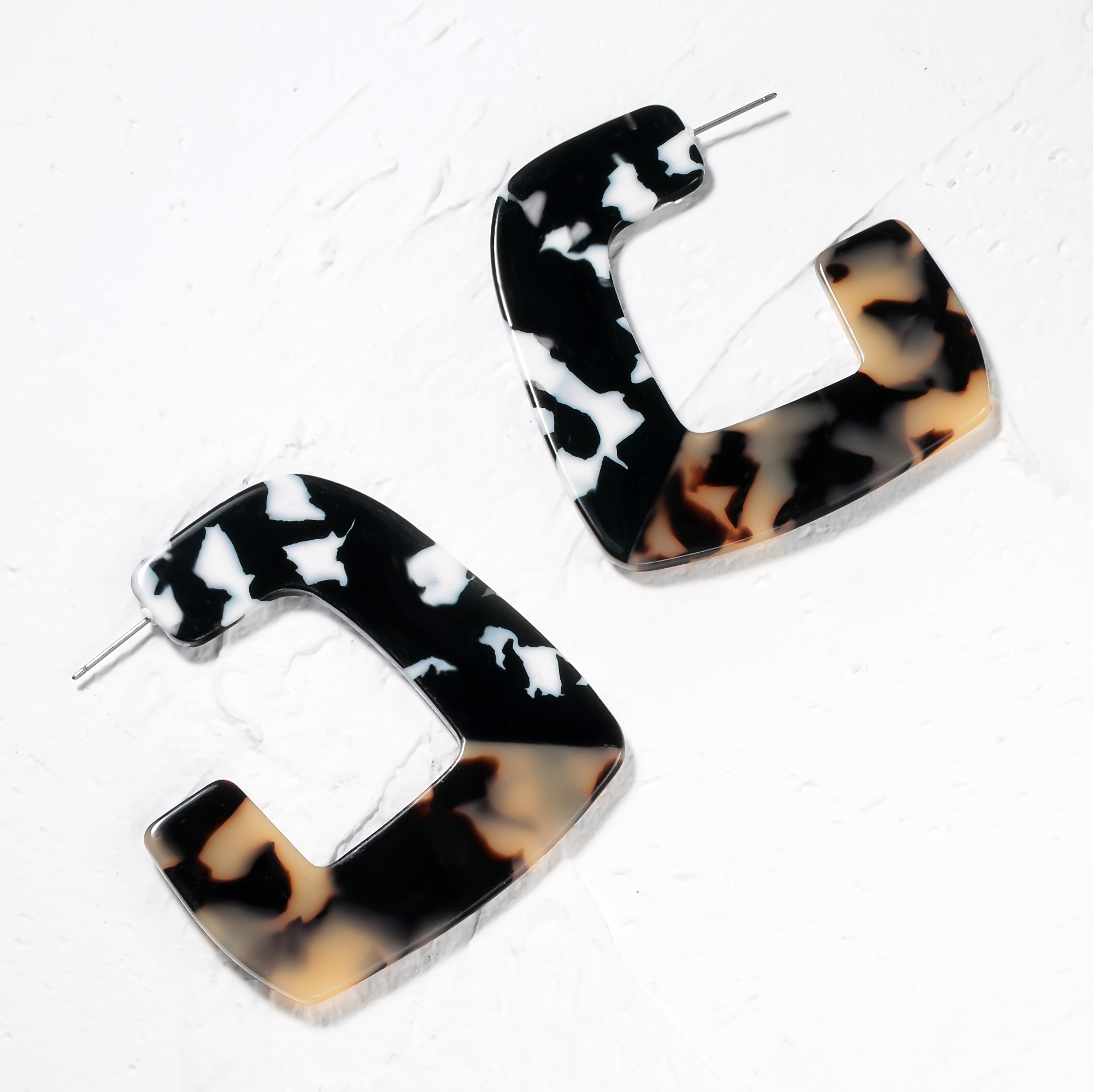 Geometric Stitching Acrylic Leopard Earrings for Women Square Opening Tortoiseshell Drop Bohemian Vintage Jewelry Gifts