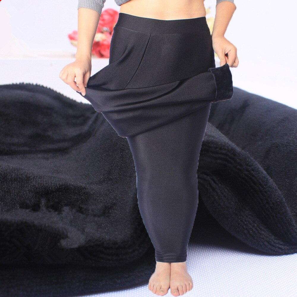 2018 New Plus Size 6XL Fashion   Leggings   Women Girls Warm Winter Bright Velvet Knitted Thick   Legging   Super Elastic Pants