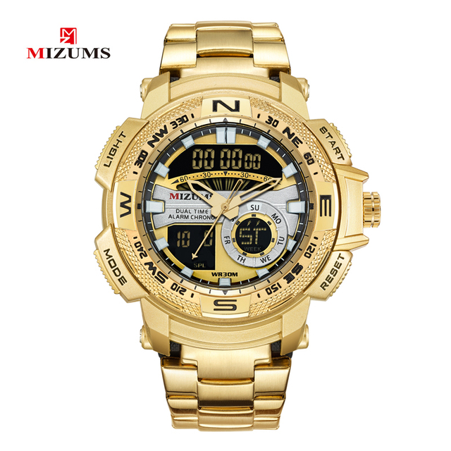 Military Wrist Watches LED Digital Sport Watch For Men Golden Stainless Steel Band Dual Times Quartz Clock Man Relogio Masculino